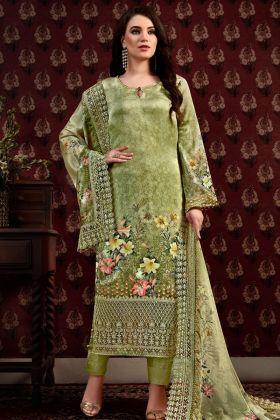 Green Satin Crepe Straight Salwar Kameez