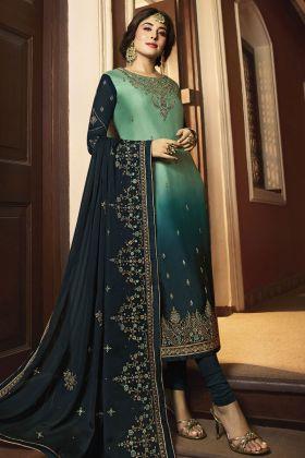 Green Satin Georgette Straight Salwar Kameez