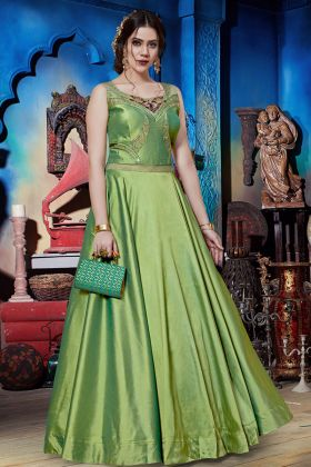 Green Soft Silk Party Wear Gown