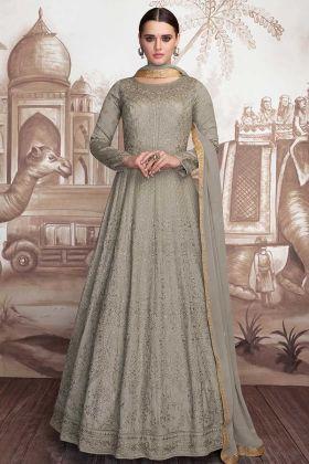 Grey Anarkali Dress Pattern Heavy Faux Georgette And Heavy Butterfly Net