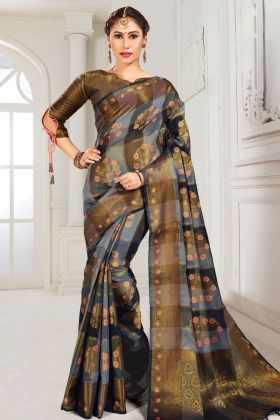 Grey And Black Cotton Saree In Weaving Work