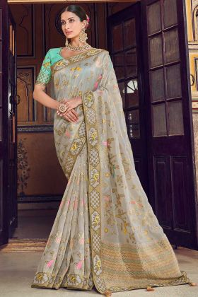 Grey Art Silk Wedding Designer Traditional Saree