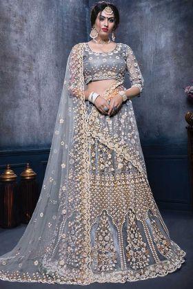 Grey Color Bridal Designer Net Lehenga Choli Online
