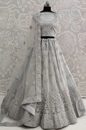 Grey Color Bridal Wear Heavy Net Lehenga Choli