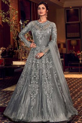 Grey Color Butterfly Net Indo Western Suit For Wedding