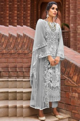 Grey Color Butterfly Net Latest Designer Pakistani Salwar Kameez Online