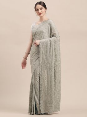 Grey Color Designer Wedding Saree