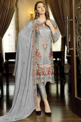 Grey Color Fancy Pakistani Salwar Suit Fabricated On Georgette For Eid