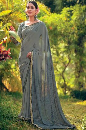 Grey Color Floral Designer Saree In Georgette Fabric