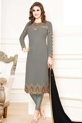 Grey Color Georgette Festive Salwar Suit With Chiffon Dupatta
