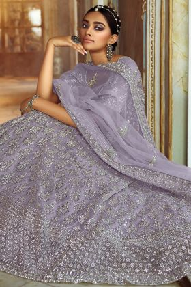 Grey Color Heavy Zarkan Worked Lehenga Choli Collection In Soft Net Fabric