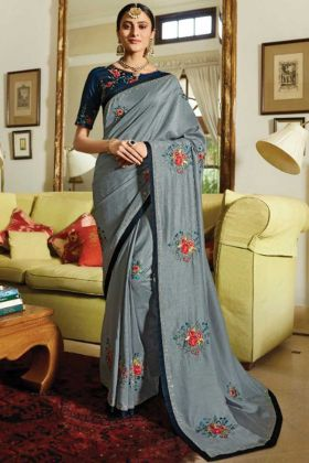 Grey Color Lace Border Stone Work Silk Saree