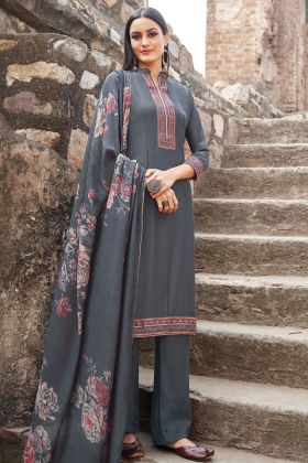 Grey Color Muslin Party Wear Salwar Suit
