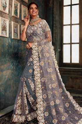 Grey Color Net New Saree Design For Women