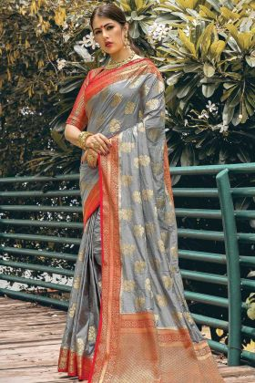 Grey Color Nylon Silk Saree For Festival