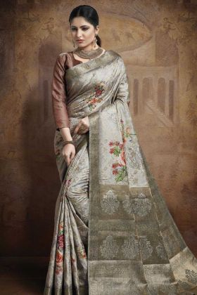 Grey Color Party Wear Jacquard Silk Saree