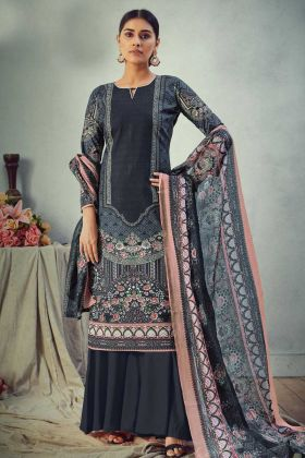 Grey Color Pure Cambric Cotton Designer Printed Salwar Suit