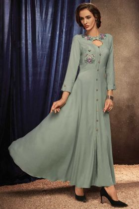 Grey Color Readymade Gown With Rayon Fabric