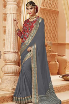 Grey Color Satin Silk Party Wear Saree