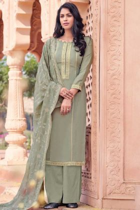 Grey Color Viscose Muslin Salwar Suit For Festival