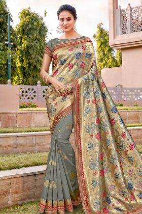 Grey Color Weaved Silk Designer Latest Saree