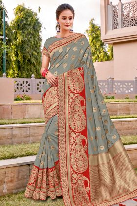 Grey Color Weaved Silk Saree Blouse Pattern