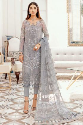 Grey Color Wedding Heavy Georgette Embroidered Pakistani Salwar Kameez For Eid