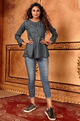 Grey Cotton Silk Partywear Designer Western Wear