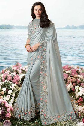 Grey Designer Saree Pure Viscose Tissue With Net Blouse