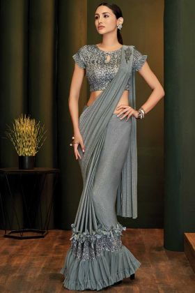 Grey Fancy Lycra Sequins Party Wear Saree For Girls