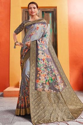Grey Floral Design and Flower Print Sarees