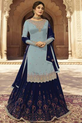 Grey Georgette Latest Lehenga Suit Design