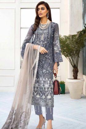 Grey Heavy Embroidered Designer Pakistani Salwar Suit