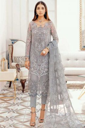 Grey Pakistani Style Heavy Faux Georgette Suit