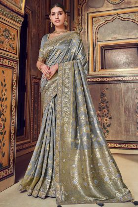 Grey Patch Border Art Silk Wedding Traditional Saree