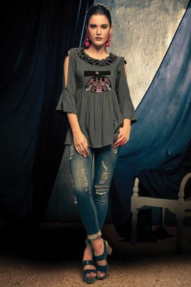 Grey Thread Embroidery Rayon Readymade Top