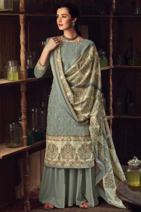 Grey Color Party Wear Pure Wool Pashmina Plazzo Suit