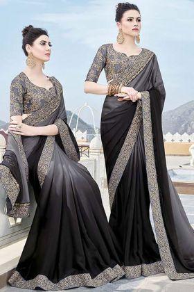 Grey and Black Silk Georgette Festive Saree