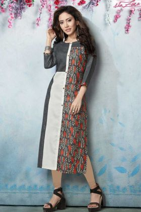 Grey and White Designer Kurti Online