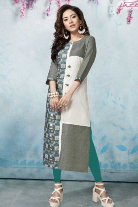Grey and White Printed Kurti