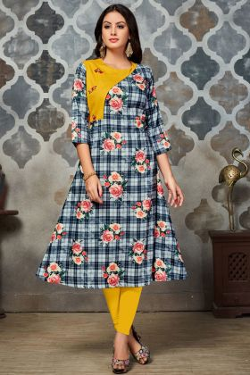 Grey and Yellow polyester Printed Kurti