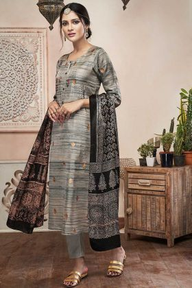 Grey Art Silk Pant Style Suit With Resham Embroidery Work
