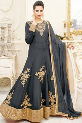 Grey Chiffon Anarkali Salwar Suit