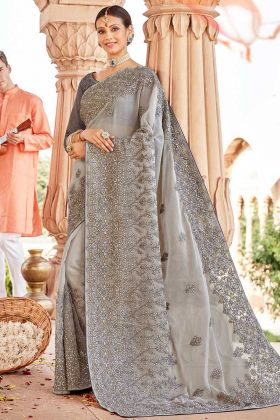 Grey Chiffon Heavy Designer Tone To Tone Embroidered Saree