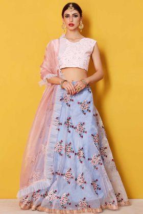Grey Color Art Silk Designer Lehenga Choli With Soft Net Dupatta