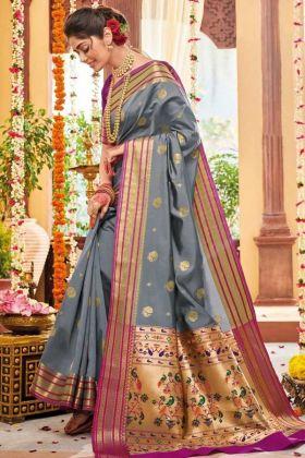 Grey Color Banarasi Art Silk Saree With Weaving Work