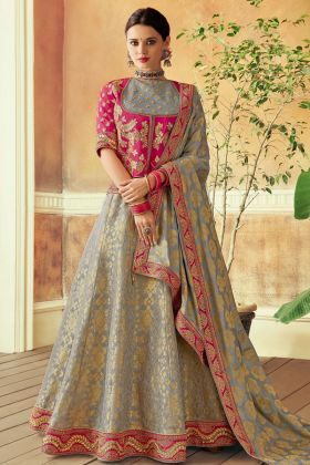 Grey Color Brocade Wedding Lehenga Choli