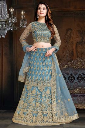Grey Color Coding Embroidery Work Net And Satin Party Wear Lehenga Choli