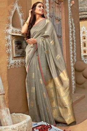 Grey Color Cotton Jacquard Saree