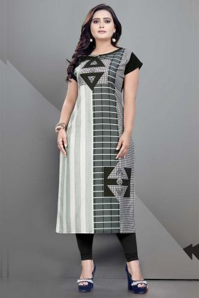 Grey Color Crepe Printed Kurti